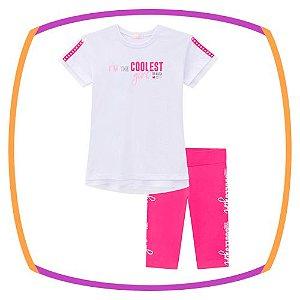 Conjunto infantil de blusa COLLEST e bermuda ciclista