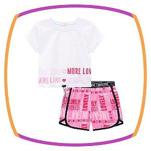 Conjunto infantil de blusa boxy MORE LOVE e shorts em nylon