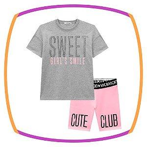 Conjunto infantil Camiseta Over e shorts biker