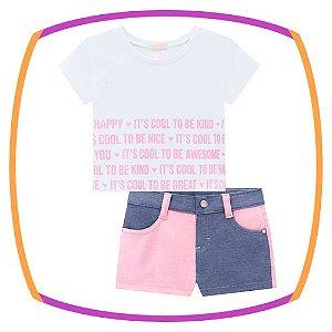 Conjunto infantil de blusa boxy e shorts em malha dublada na cor rosa e jeans