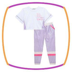Conjunto infantil Blusa Boxy e calça jogger em Nylon Dubai