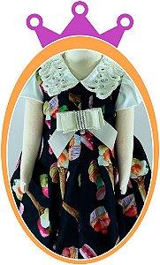 Vestido infantil Estampa Cup Cake com Aplique em Pérolas