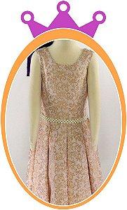 Vestido infantil Estampa que Imita Aveludado com Cinto em Pérola