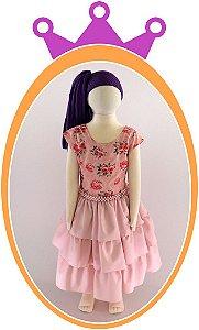Vestido Saia Lisa e Corpo estampado em Flores e Cinto em Pérolas
