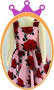 Vestido infantil de Alça com Estampa de Flores Grandes Vermelhas