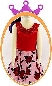Vestido infantil com Pérola e Saia Estampada Rosas Vermelhas