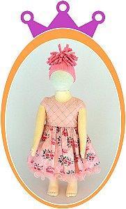 Vestido Corpo Nervura com Pérola Bordada e Saia Estampa Flor Pequena - Cor: Rosa