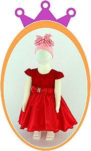 Vestido Saia Lisa Com Cinto em Strass e Corpo em Renda - Cor: Vermelho