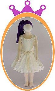 Vestido em Tafetá com Colar e Cinto em Pérola - Cor: Off White
