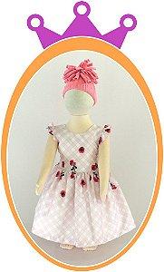Vestido em Estampa Quadriculada e Rosas Pequenas - Cor: Rosa