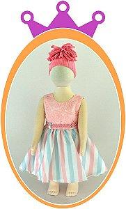 Vestido Corpo em Renda e Saia em Tons Pastéis e Cinto em Pérola - Cor: Rosa Bebê
