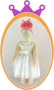 Vestido de Renda Perla e Cinto em Flor - Cor: Branca