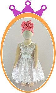 Vestido em Renda Perla 1 e Cinto em Flor  - Cor: Branca
