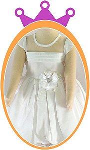 Vestido infantil Maquinetado com Pregas no Peito e Flor no Cinto