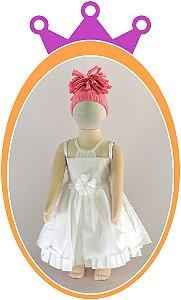 Vestido com Transparência no Decote e Pérolas na Flor do Cinto - Cor: Branca