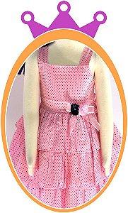 Vestido infantil Rosa em Poá Azul Marinho