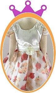 Vestido infantil Cetim com Fundo em Flores
