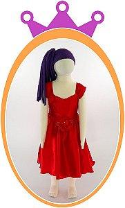Vestido Liso em Cetim e Flores no Cinto