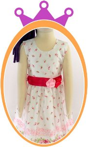 Vestido infantil com Flores Rosas