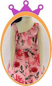 Vestido infantil Babado e Estampa de Flor