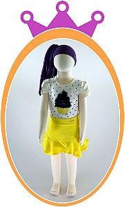 Conjunto Saia em Cotton e Neoflex Estampa Cup Cake - Cor: Amarelo
