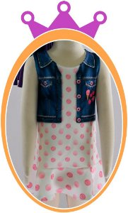 Vestido infantil em Neoprene imitando Jaqueta Jeans