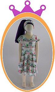 Vestido em Neoprene com Estampa de Casa - Faixa de Cabelo