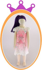 Vestido Estampa de Flores e aplique de Pérolas com Barra em Renda