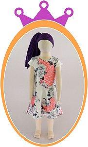 Vestido em Neoprene com Estampa em Flores