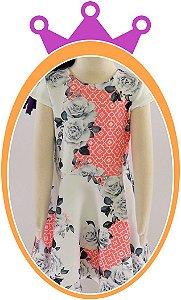 Vestido infantil em Neoprene com Estampa em Flores