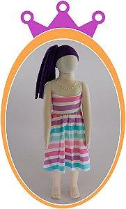 Vestido infantil em Super Cetim e Tule com Aplique