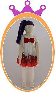 Vestido em Chifon e Crepe com Rosas Vermelhas