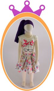 Conjunto Saia Nylon Estampada e Blusa Cotton