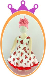 Vestido com Rosas e Babado Vermelhos