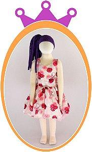 Vestido com Estampa Floral e Coroa