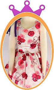 Vestido infantil com Estampa Floral e Coroa