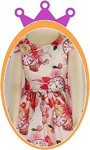 Vestido infantil com Estampa Floral e Relógio