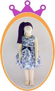 Vestido Estampa Floral com Saia em  Camadas de Babados e Corpo Drapeado com Aplique de Strass