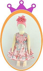 Vestido infantil Drapeado Floral com Laços