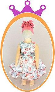 Vestido Drapeado Floral com Laços