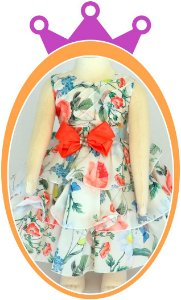 Vestido infantil Estampa Floral Branco com Laço Laranja