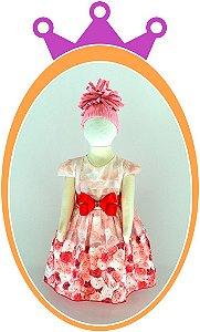 Vestido Estampa Rosas Vermelhas e Cinto de Laço com Strass