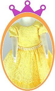 Vestido infantil em Renda Amarelo com Pérolas no Cinto