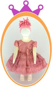 Vestido infantil com Renda e Tule - Cor: Rosê