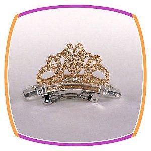 Fivela de Coroa em acrílico Purpurinado - PAR