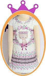 Vestido infantil em Super Cetim Estampa de Gatinho Lilás