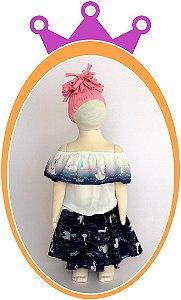 Conjunto Blusa Ombro a Ombro e Saia  Shorts em Cotton com Estampa de Cisne