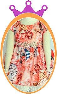 Vestido infantil com Estampa de Flores e Chá