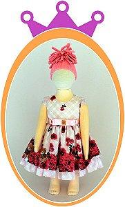 Vestido Corpo Rosa Quadriculado e Saia com Estampa de Rosas e Urso no Barrado e Cinto com Pedras