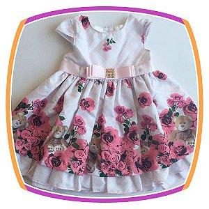 Vestido infantil Estampa de Rosas e Urso